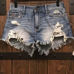 Hollister Denim Shorts with Crochet/Lace Pockets